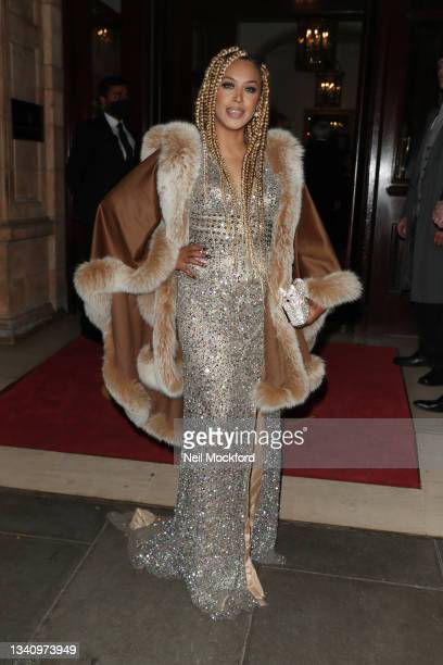 Guest arrives at The Icon Ball during London Fashion Week September 2021 at The Landmark Hotel on September 17, 2021 in London, England.