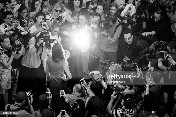 A guest arrives at the Jean Paul Gaultier show as part of the Paris Fashion Week Womenswear Spring/Summer 2015 on September 27 2014 at the Grand Rex...