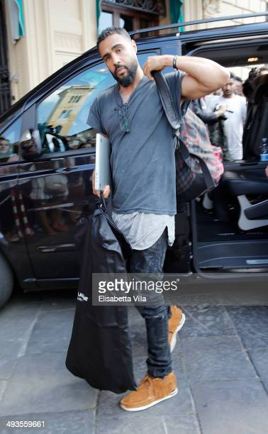 A guest arrives at the Westin Excelsior Hotel ahead of Kim Kardashian And Kanye West's wedding on May 24 2014 in Florence Italy