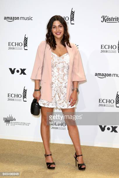 A guest arrives for the Echo Award at Messe Berlin on April 12 2018 in Berlin Germany