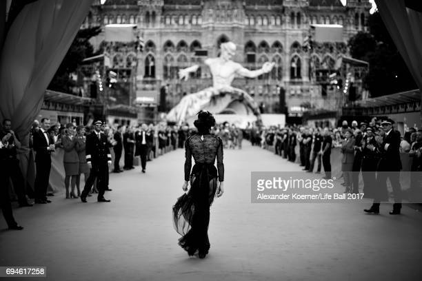 A guest arrives for the Life Ball 2017 on June 9 2017 in Vienna Austria The Life Ball is an annual charity ball in Vienna that raises funds for HIV...