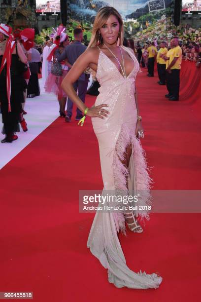 Guest arrives for the Life Ball 2018 at City Hall on June 2 2018 in Vienna Austria The Life Ball an annual charity event raising funds for HIV AIDS...