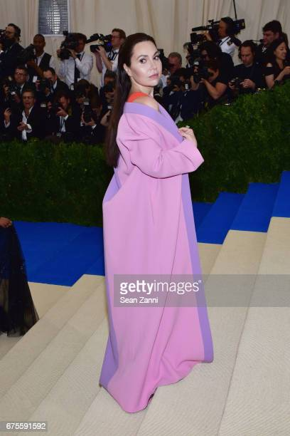 Guest arrives 'Rei Kawakubo/Comme des Garcons Art Of The InBetween' Costume Institute Gala at The Metropolitan Museum on May 1 2017 in New York City