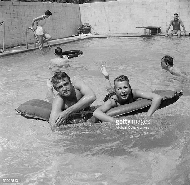 Guest attend actress Debbie Reynolds pool party in Los AngelesCA