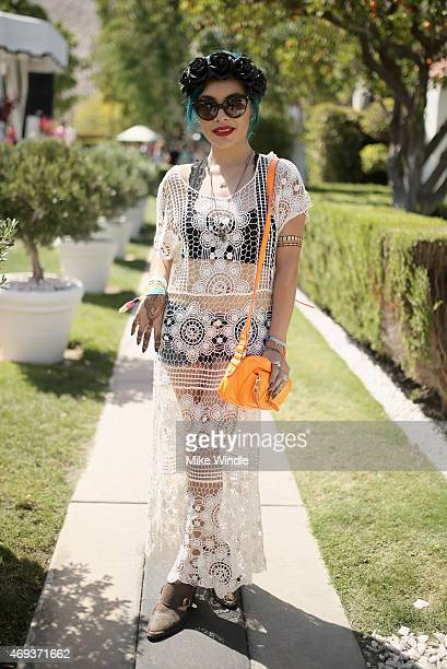 A guest attend POPSUGAR SHOPSTYLE'S Cabana Club Pool Parties Day 1 at the Avalon Hotel on April 11 2015 in Palm Springs California