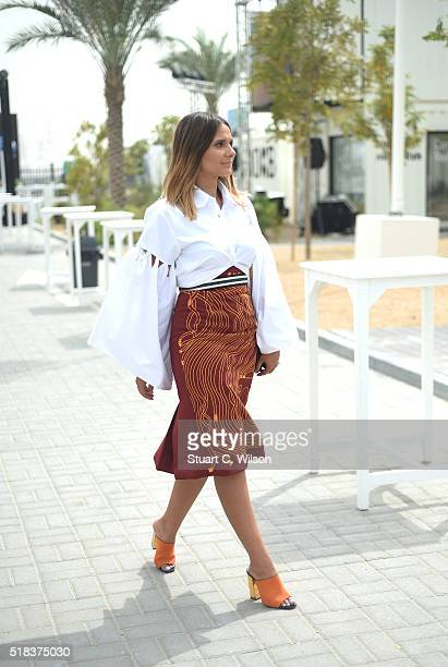 A guest attends Fashion Forward Fall/Winter 2016 held at the Dubai Design District on March 31 2016 in Dubai United Arab Emirates