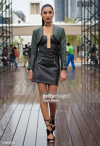 A guest attends Fashion Forward Fall/Winter 2016 held at the Dubai Design District on April 1 2016 in Dubai United Arab Emirates