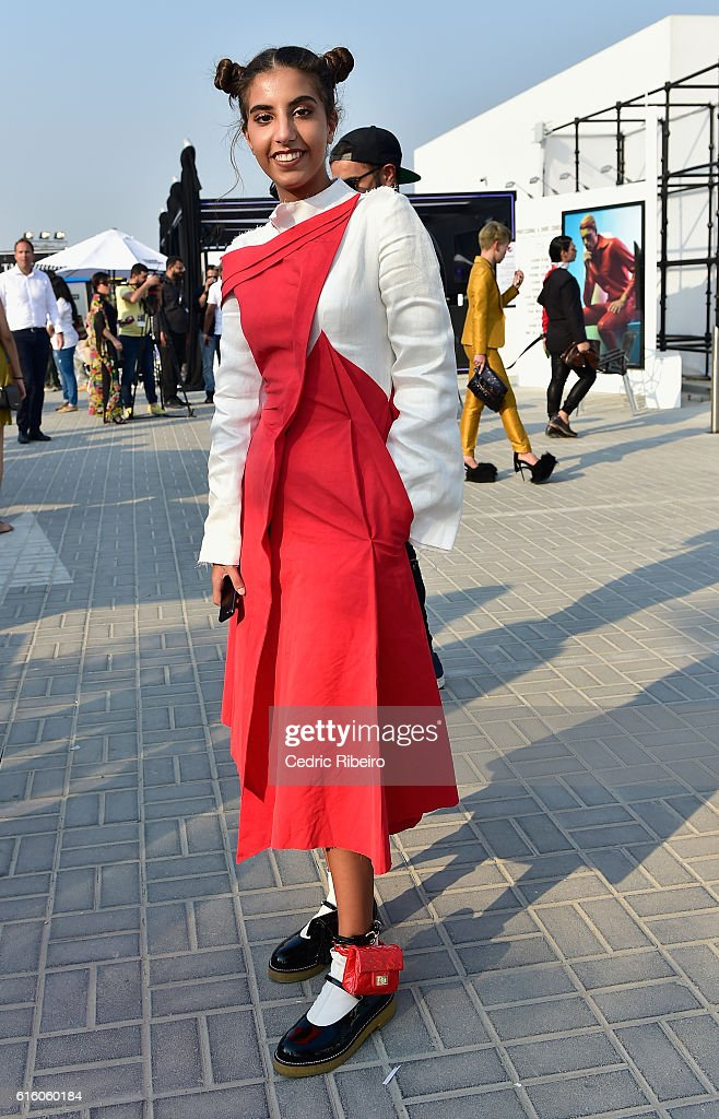 A guest attends Fashion Forward Spring/Summer 2017 at the Dubai Design District on October 21, 2016 in Dubai, United Arab Emirates.