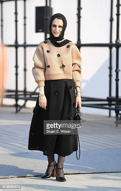 A guest attends Fashion Forward Spring/Summer 2017 at the Dubai Design District on October 21 2016 in Dubai United Arab Emirates