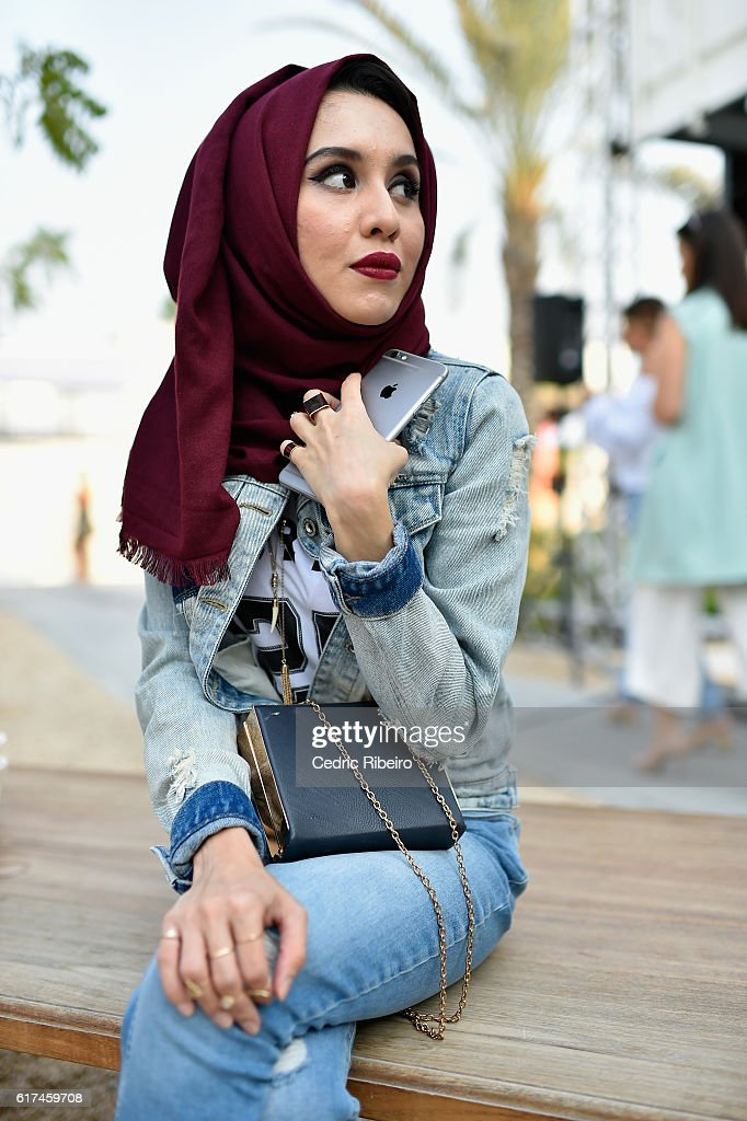 A guest attends Fashion Forward Spring/Summer 2017 at the Dubai Design District on October 23, 2016 in Dubai, United Arab Emirates.