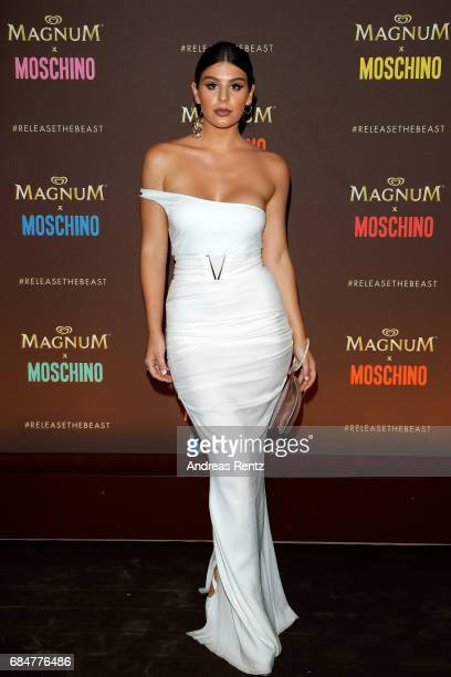 A guest attends Magnum party during the 70th annual Cannes Film Festival at Magnum Beach on May 18 2017 in Cannes France