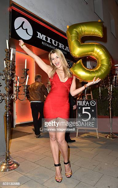 Model AnnaMaria Kagerer during 'MIURA Restaurant Celebrates 5th Anniversary' on April 21 2016 in Munich Germany