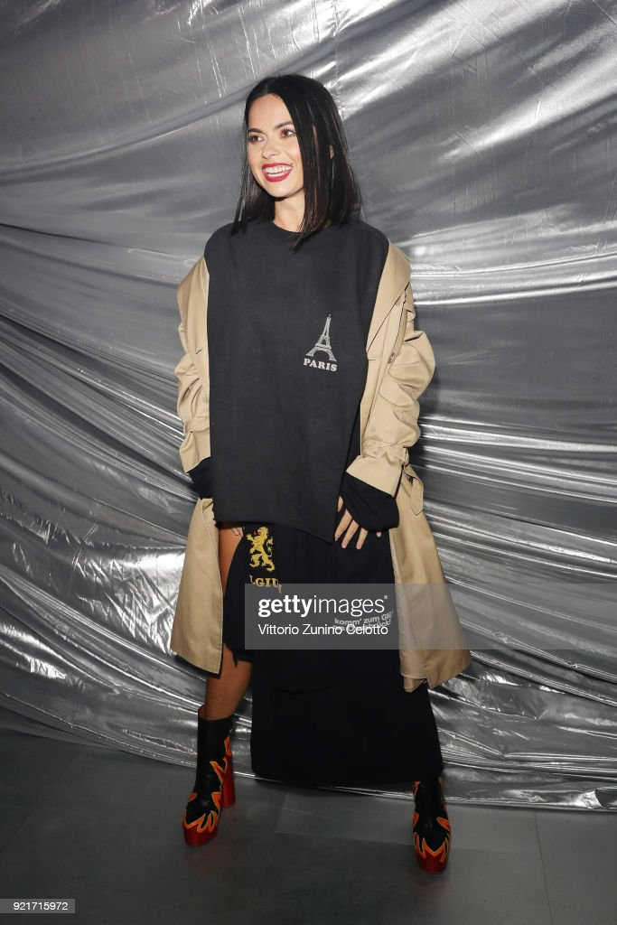 A guest attends Moncler Genius during Milan Fashion Week on February 20, 2018 in Milan, Italy.