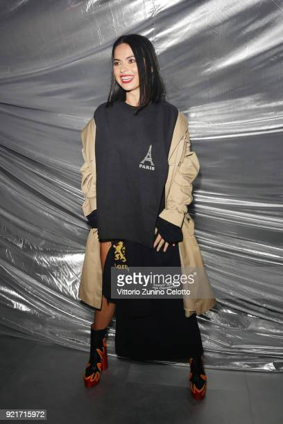 A guest attends Moncler Genius during Milan Fashion Week on February 20 2018 in Milan Italy
