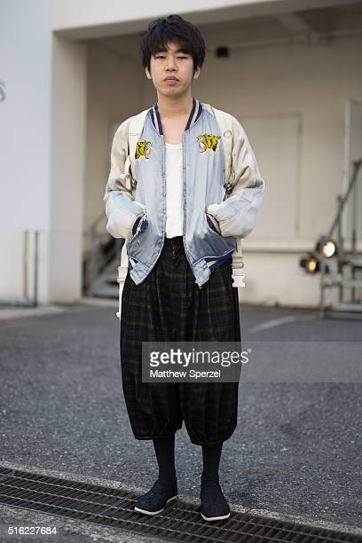 A guest attends the Allsaints presentation during Tokyo Fashion Weekon March 17 2016 in Tokyo Japan