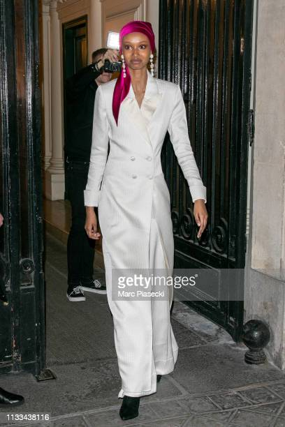 A guest attends the Americans In Paris Cocktail Party Outside Arrivals as part of the Paris Fashion Week Womenswear Fall/Winter 2019/2020 on March 03...