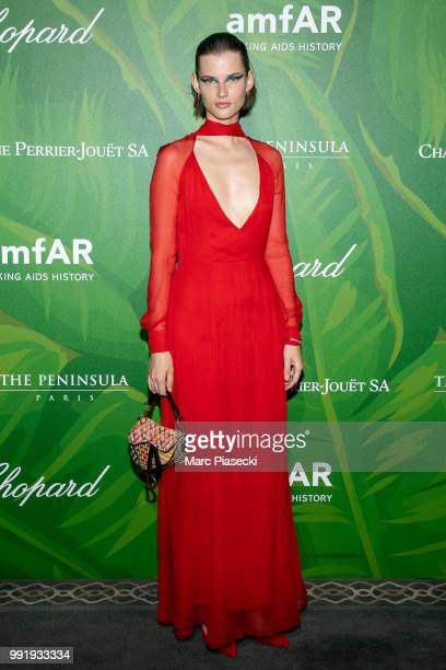 A guest attends the amfAR Paris Dinner 2018 at The Peninsula Hotel on July 4 2018 in Paris France