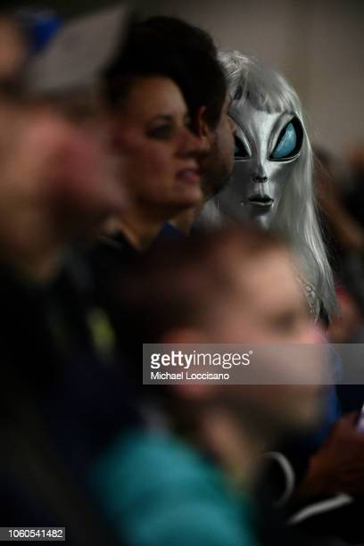 A guest attends the Ancient Aliens 50 Years of Chariots of the Gods panel during day 2 of AlienCon Baltimore 2018 at Baltimore Convention Center on...