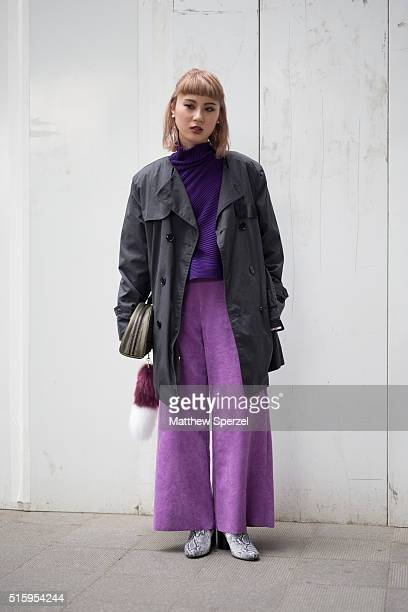 A guest attends the Anne Sofie Madsen show during Tokyo Fashion Week on March 16 2016 in Tokyo Japan