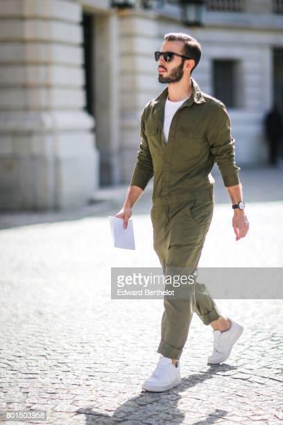 A guest attends the Balmain Menswear Spring/Summer 2018 show as part of Paris Fashion Week on June 24 2017 in Paris France