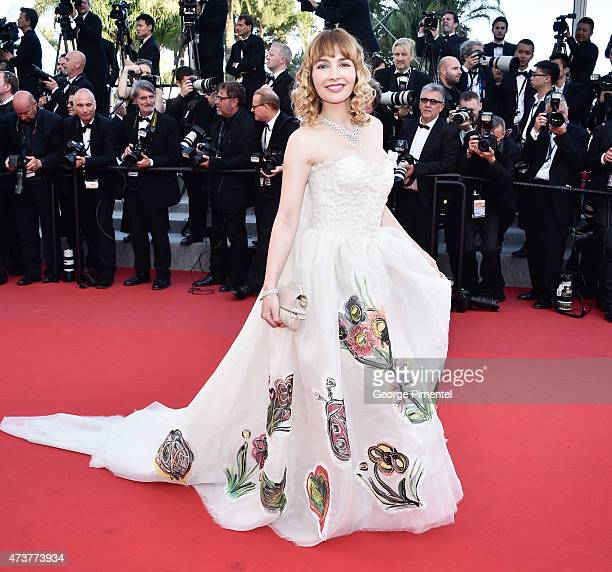 A guest attends the 'Carol' Premiere during the 68th annual Cannes Film Festival on May 17 2015 in Cannes France