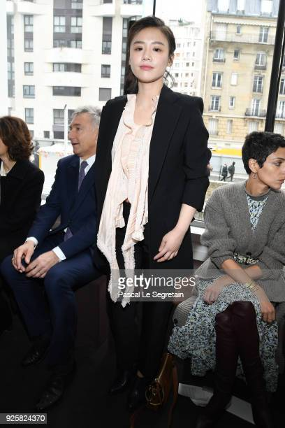 A guest attends the Chloe show as part of the Paris Fashion Week Womenswear Fall/Winter 2018/2019 on March 1 2018 in Paris France