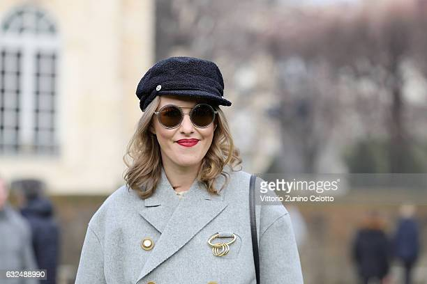 A guest attends the Christian Dior Haute Couture Spring Summer 2017 show as part of Paris Fashion Week at Musee Rodin on January 23 2017 in Paris...