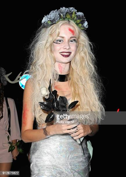 A guest attends the Death Of A Geisha VIP Halloween Party on November 1 2014 in London England