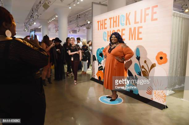 A guest attends the DiaCo fashion show and industry panel at the CURVYcon at Metropolitan Pavilion West on September 8 2017 in New York City