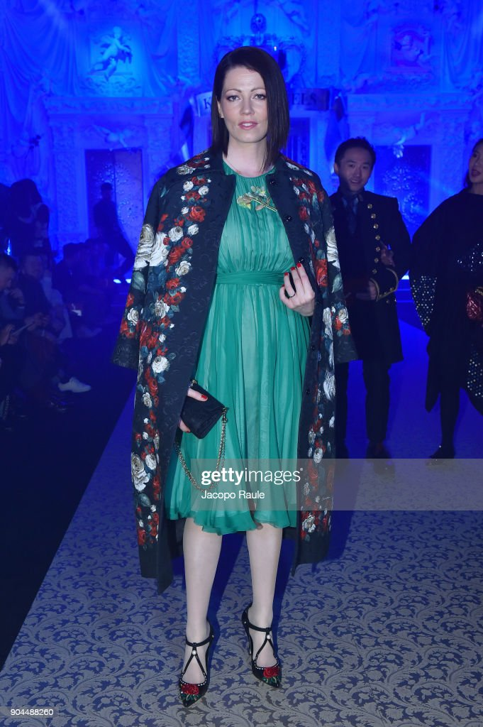 A guest attends the Dolce & Gabbana show during Milan Men's Fashion Week Fall/Winter 2018/19 on January 13, 2018 in Milan, Italy.