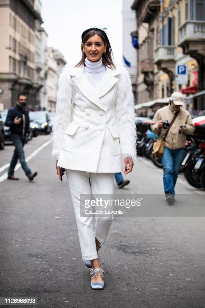 Guest attends the Ermanno Scervino show at Milan Fashion Week Autumn/Winter 2019/20 on February 23 2019 in Milan Italy