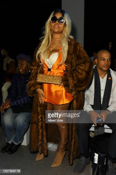 A guest attends the Fe Noel front row during New York Fashion Week The Shows at Gallery II at Spring Studios on February 12 2020 in New York City