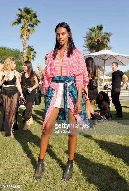 Guest attends the FentyXPUMA Drippin event launching the Summer '18 collection at Coachella on April 14 2018 in Thermal California