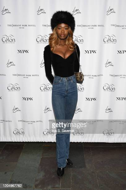 Guest attends the Flying Solo NYFW after party at Célon Bar Lounge on February 8 2020 in New York City