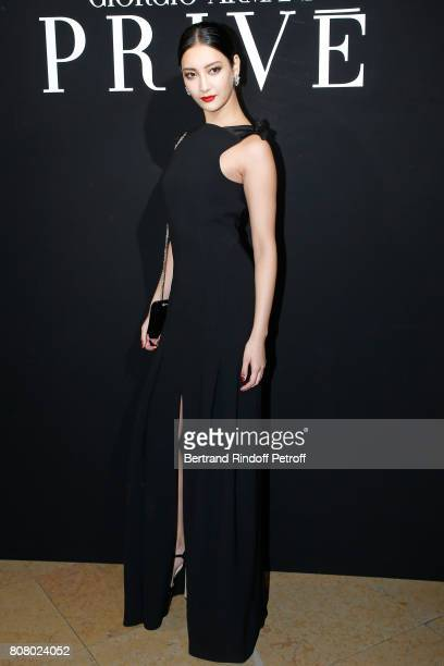 A guest attends the Giorgio Armani Prive Haute Couture Fall/Winter 20172018 show as part of Haute Couture Paris Fashion Week on July 4 2017 in Paris...