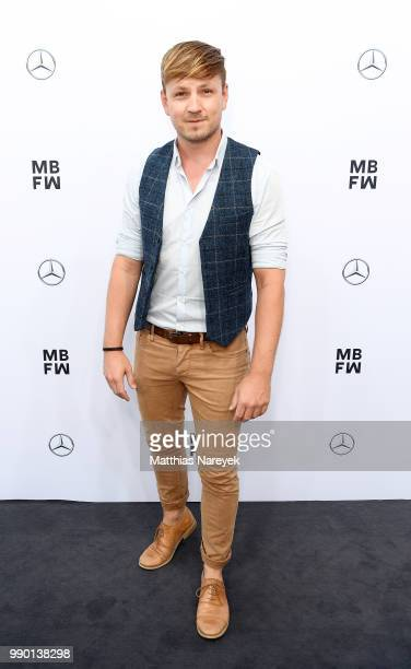 A guest attends the Guido Maria Kretschmer show during the Berlin Fashion Week Spring/Summer 2019 at ewerk on July 2 2018 in Berlin Germany