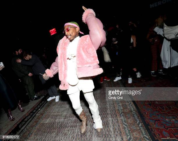 A guest attends the Heron Preston Tequila Avion Dance Party in Celebration Of Heron Preston 'Public Figure' at Public Arts on February 13 2018 in New...