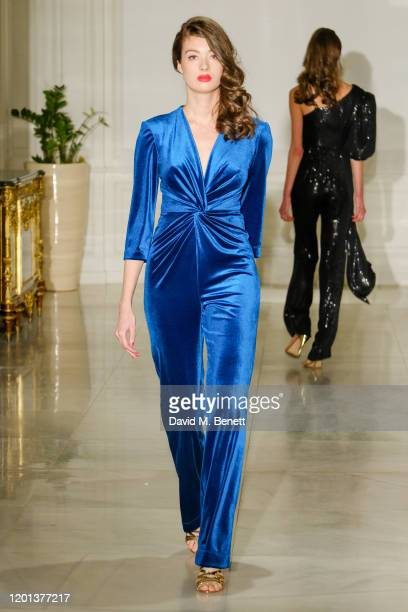 Guest attends the Kolchagov Barba show during London Fashion Week February 2020 at Melia White House Hotel on February 16 2020 in London England