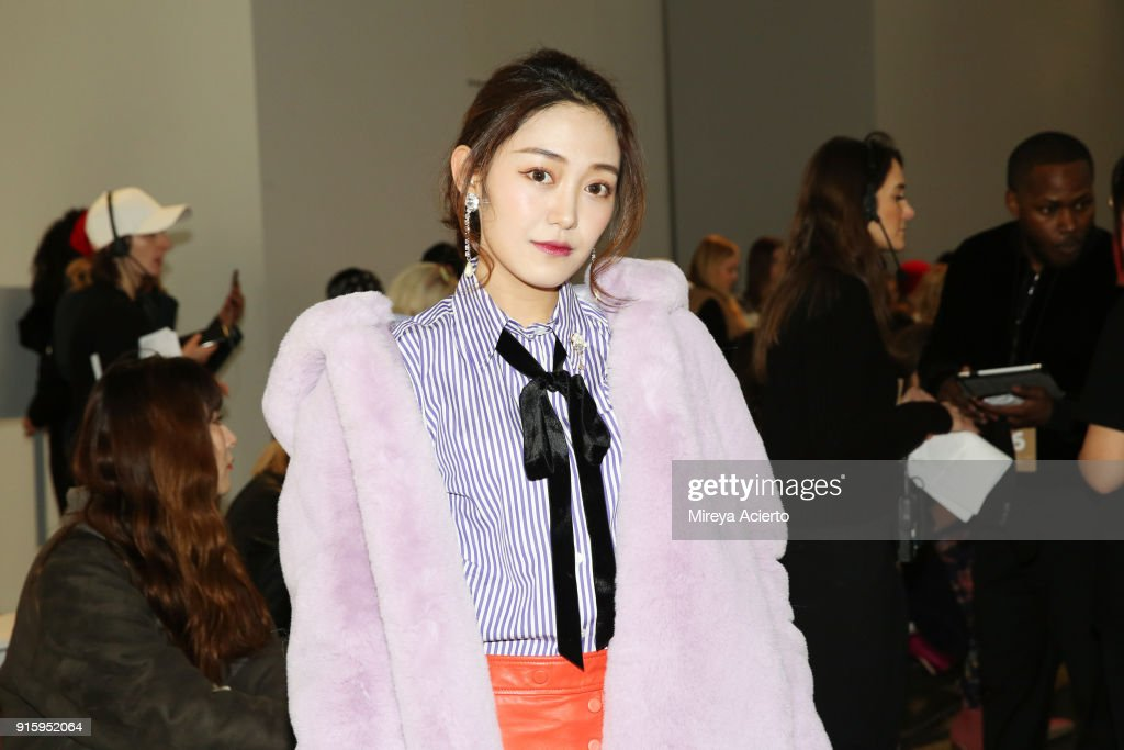 A guest attends the Lanyu front row during New York Fashion Week: The Shows at Industria Studios on February 8, 2018 in New York City.