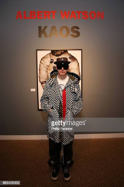 A guest attends the launch of Albert Watson's 'KAOS' at TASCHEN Gallery at TASCHEN Gallery on October 19 2017 in Los Angeles California
