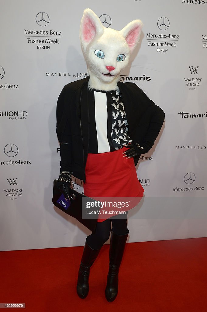 A guest attends the Laurel show during Mercedes-Benz Fashion Week Autumn/Winter 2014/15 at Brandenburg Gate on January 16, 2014 in Berlin, Germany.