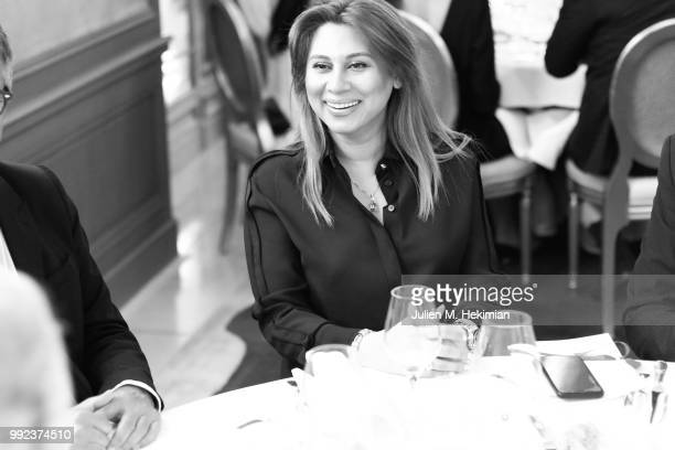 A guest attends the Liu Lisi Charity Gala Dinner with Unicef at Hotel Plaza Athenee on July 5 2018 in Paris France