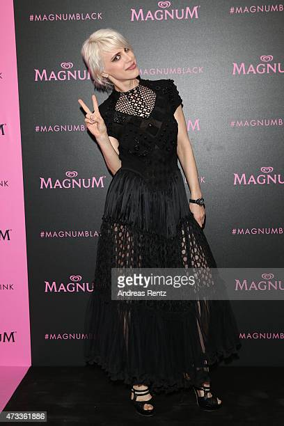 Guest attends the Magnum 'Pink and Black' party during the 68th annual Cannes Film Festival on May 14 2015 in Cannes France