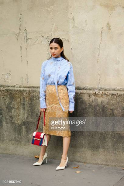 Guest attends the Maison Valentino show as part of the Paris Fashion Week Womenswear Spring/Summer 2019 on September 30 2018 in Paris France