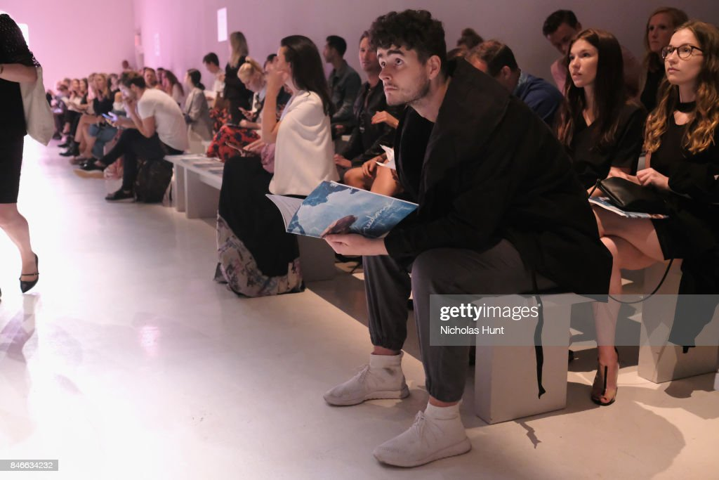 A guest attends the Marcel Ostertag fashion show during New York Fashion Week: The Shows at Gallery 3, Skylight Clarkson Sq on September 13, 2017 in New York City.