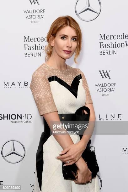 A guest attends the Rebekka Ruetz show during the MercedesBenz Fashion Week Berlin Spring/Summer 2018 at Kaufhaus Jandorf on July 5 2017 in Berlin...