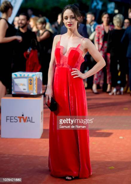 A guest attends the red carpet closing of FesTVal 2018 on September 8 2018 in VitoriaGasteiz Spain