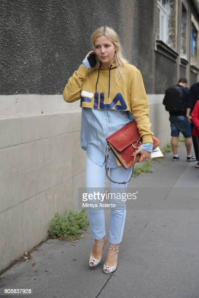 A guest attends the Rodarte fashion show during Haute Couture Fall/Winter 20172018 fashion week on July 2 2017 in Paris France