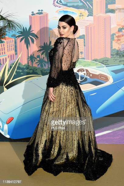 A guest attends the Rose Ball 2019 to benefit the Princess Grace Foundation on March 30 2019 in Monaco Monaco