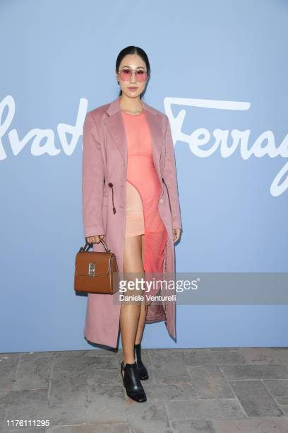 A guest attends the Salvatore Ferragamo show during Milan Fashion Week Spring/Summer 2020 on September 21 2019 in Milan Italy